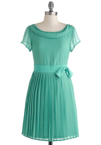 Pretty in Pleats Dress - Mint, Solid, Bows, Pleats, Daytime Party, A-line, Short Sleeves, Scoop, Wedding, Bridesmaid, Vintage Inspired, 60s, Pastel, Chiffon, Sheer, Short