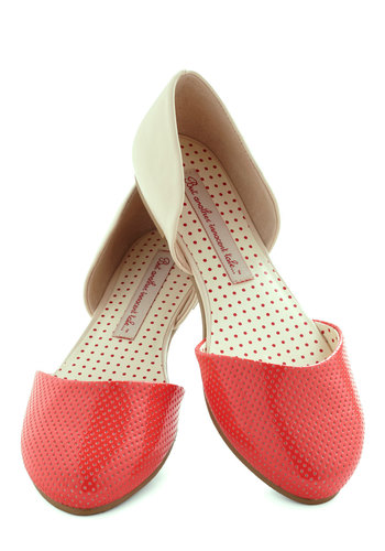 Yogurt Parfait Flat in Strawberry by Bait Footwear - Coral, Tan / Cream, Solid, Colorblocking, Flat, Leather, Spring, Variation
