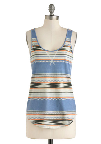 Southwestern Dreams Top - Blue, Orange, Tan / Cream, Black, Print, Casual, Tank top (2 thick straps), Cotton, Mid-length, Rustic, Scoop, Summer, Travel