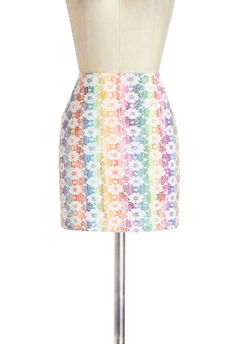 Prism Perfect Skirt by Mink Pink - Multi, Red, Orange, Yellow, Green, Blue, Purple, Pink, Floral, Lace, Kawaii, Mini, Girls Night Out, 90s, Colorblocking, Short