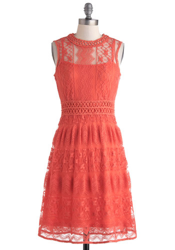 Fruit Punch of Color Dress - Coral, Solid, Crochet, Lace, Daytime Party, A-line, Sleeveless, Crew, Long, Sheer, Lace
