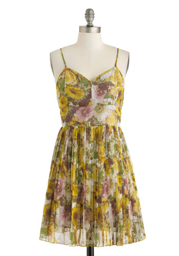 Ethereal Reflections Dress by Jack by BB Dakota - Short, Yellow, Multi, Floral, Pleats, A-line, Spaghetti Straps, V Neck, Casual, Daytime Party, Wedding, Bridesmaid