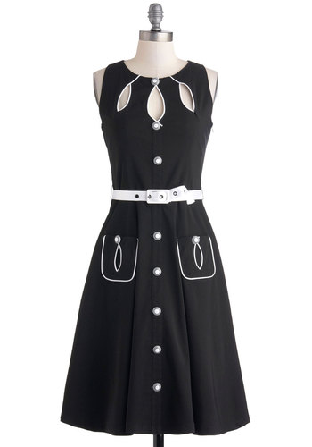 Swell-Heeled Dress in A-line - Black, White, Buttons, Cutout, Pockets, Belted, Casual, A-line, Sleeveless, Crew, Rockabilly, Vintage Inspired, 60s