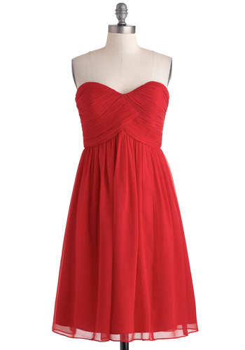 Flirting With the Idea Dress in Poppy - Red, Solid, Cocktail, Empire, Strapless, Sweetheart, Wedding, Bridesmaid, Prom, Variation, Long, Ruching, Exclusives, Gifts Sale, Valentine's