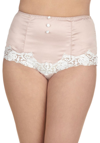 In With the Elegant Undies - Pink, White, Solid, Buttons, Lace, Pinup, Vintage Inspired, 40s, 50s, Pastel, High Waist, Wedding, Boudoir