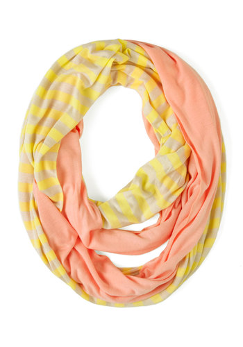Swathed in Spring Scarf - Yellow, Solid, Stripes, Cotton, Pink