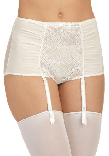 Ever Opulent Undies - White, Solid, Bows, Lace, Wedding, Film Noir, Pinup, Vintage Inspired, 40s, 50s, High Waist, Sheer, Boudoir