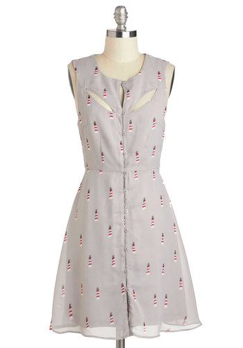 Light the Way Dress by Sugarhill Boutique - International Designer, Mid-length, Grey, Red, White, Print, Buttons, Cutout, Casual, A-line, Scoop, Beach/Resort, Nautical