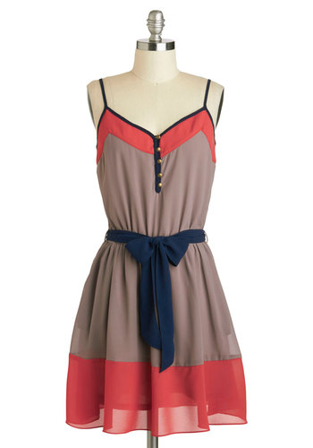 Try a Little Trendy-ness Dress - Mid-length, Tan, Blue, Pink, Buttons, Belted, Casual, A-line, Spaghetti Straps, V Neck, Solid, Colorblocking, Pockets