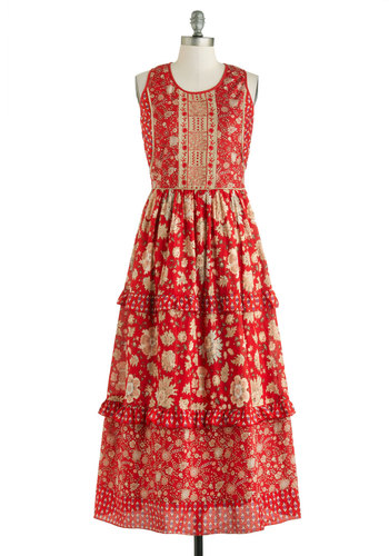 Katherine's La Vie Bohemian Dress - Long, Cotton, Red, Multi, Floral, Ruffles, Tiered, Boho, Maxi, Sleeveless, Crew, Summer, Fall