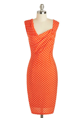 She's Dot Me Dancing Dress - Long, Orange, White, Polka Dots, Ruching, Party, Shift, Sleeveless, Cocktail, Pinup, Vintage Inspired, 40s, 50s