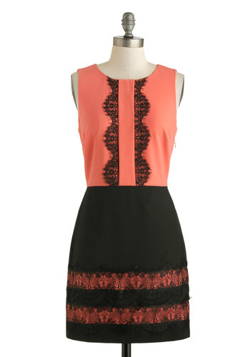 Set the Lace Dress by Darling - Short, Pink, Black, Lace, Party, Sheath / Shift, Sleeveless, Scoop, Cocktail