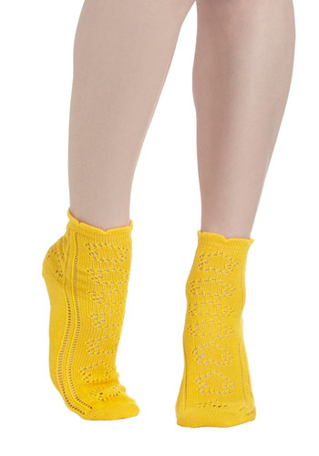Knit Must Be Love Socks in Yellow by PACT - Yellow, Solid, Eco-Friendly, Variation