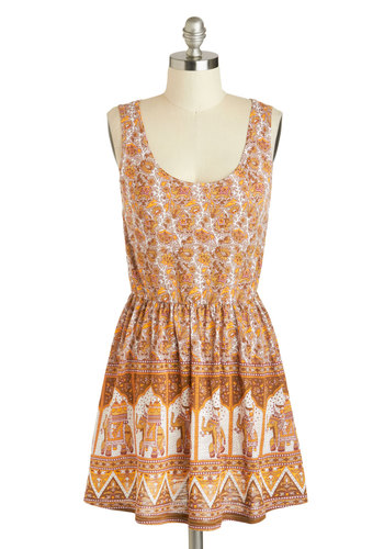 Elephant-astic Venture Dress by Mink Pink - Short, Tan, Multi, Print with Animals, Casual, A-line, Tank top (2 thick straps), Scoop, Boho, Summer