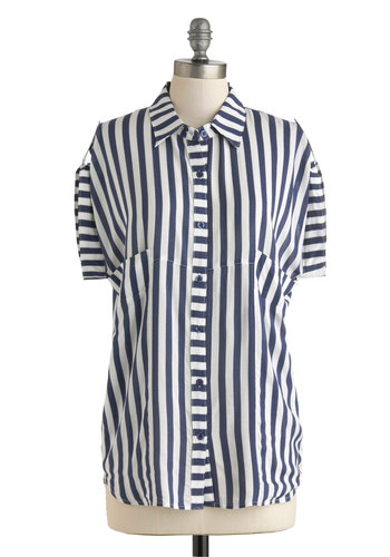 Straightforward Style Top - Blue, White, Stripes, Pockets, Short Sleeves, Sheer, Long, Buttons, Casual, Menswear Inspired, Button Down, Collared