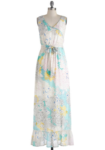 Grow Along with the Flow Dress by Tulle Clothing - Floral, Belted, Daytime Party, Sleeveless, Spring, V Neck, Maxi, Cream, Multi, Cutout, Ruffles, Boho, Long