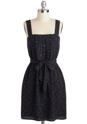 Heart at Work Dress by Tulle Clothing - Blue, Multi, Print, Ruffles, Belted, Casual, Tank top (2 thick straps), Buttons, A-line, Mid-length