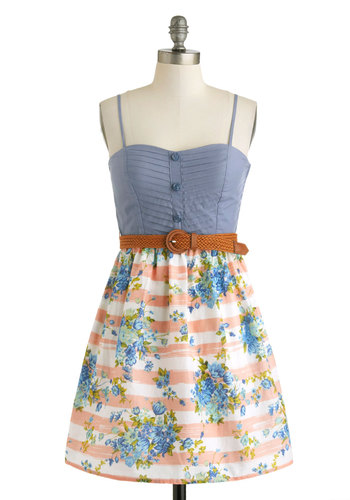 Field Daydream Dress - Multi, Blue, Pink, White, Floral, Buttons, Belted, Casual, Twofer, Spaghetti Straps, Cotton, Green, Sweetheart, Daytime Party