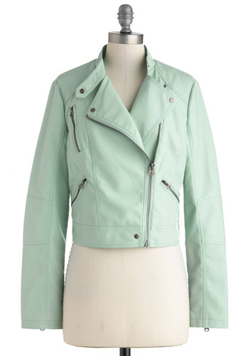 Pastel Destinations Jacket - Mint, Solid, Pockets, Party, Girls Night Out, Urban, Pastel, Long Sleeve, 2, Spring, Short, Exposed zipper