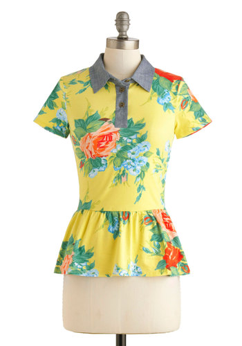 Time With You Top - Yellow, Red, Blue, Floral, Buttons, Peplum, Short Sleeves, Collared, Mid-length, Work, Casual, Spring, Summer