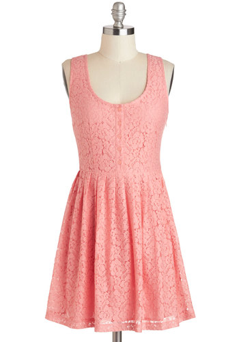 Cheer and Dear Dress in Pink by Jack by BB Dakota - Exclusives, Pink, Solid, Buttons, Lace, Party, A-line, Tank top (2 thick straps), Scoop, Spring, Mid-length, Variation, Daytime Party