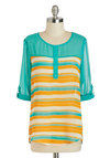 Bring Into Play Top - Multi, Yellow, Blue, Stripes, Buttons, 3/4 Sleeve, Sheer, Mid-length, Tan / Cream, Casual, Scoop, Travel
