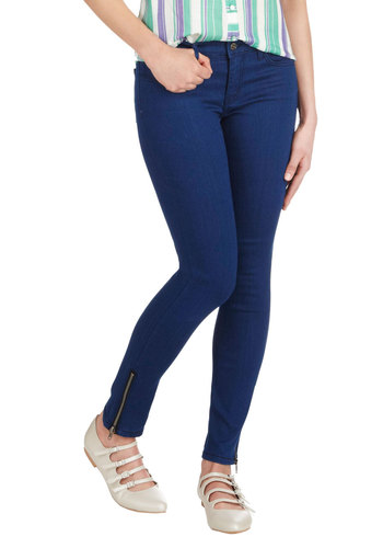 Day In, Day Haute Jeans - Denim, Blue, Solid, Exposed zipper, Pockets, Casual, Skinny, Winter, Fall