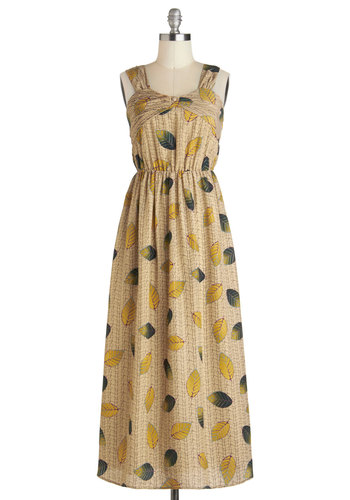 A New Leaf Dress - Tan, Multi, Tank top (2 thick straps), Casual, Long, Print, Maxi, Vintage Inspired, Fall
