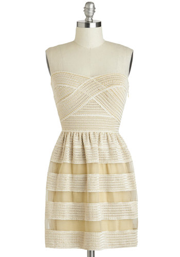 Pier and There Dress - Cream, Tan / Cream, Crochet, Strapless, Sweetheart, Mid-length, Casual, A-line