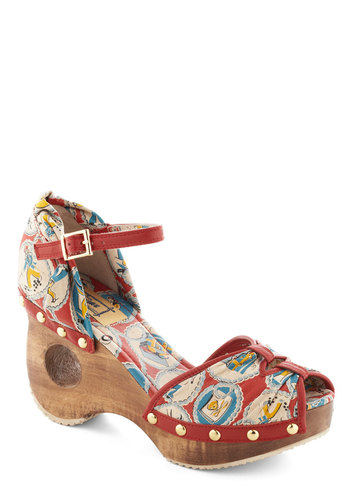 Should've Scene Her Heel by Miss L Fire - Multi, Novelty Print, Cutout, Studs, Peep Toe, Wedge, Mid, Leather, International Designer, Party, Girls Night Out, Vintage Inspired, 40s, 50s, Statement, Platform, Summer, Pinup, Quirky