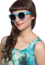 Here Comes the Fun Sunglasses in Turquoise Blue
