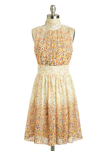 Windy City Dress in Confetti - Mid-length, Cream, Multi, Print, Party, A-line, Sleeveless, Work, Spring, Variation, Basic, Fall