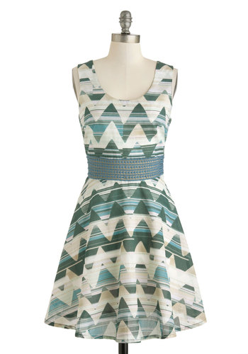 Mountain Mist Dress by Jack by BB Dakota - Cotton, Sheer, Mid-length, Blue, Green, Tan / Cream, Print, Crochet, Casual, Tank top (2 thick straps), Scoop, A-line, Chevron