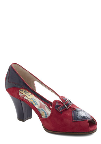 Stop Sign and Look Heel by Miss L Fire - Red, Blue, Solid, Buckles, Peep Toe, Mid, Work, Vintage Inspired, 40s, 50s, Leather, Faux Leather