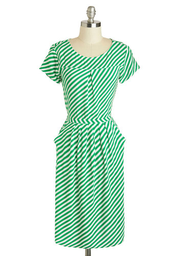Galleria Gem Dress in Green - Long, White, Stripes, Pockets, Casual, Sheath / Shift, Short Sleeves, Scoop, Green