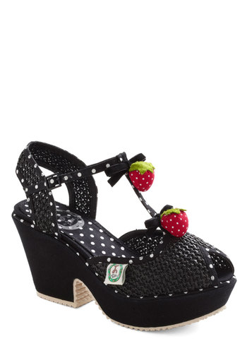 Strawberry Heels Forever by Miss L Fire - Black, Solid, Woven, Pinup, Peep Toe, Chunky heel, Mid, Red, Green, Party, Girls Night Out, Vintage Inspired, Summer, Platform, Quirky, T-Strap, Rockabilly, Best