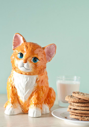 Mew Stole the Cookies? Jar - Orange, Vintage Inspired, 50s, 60s, Quirky, Print with Animals, Mid-Century, Cats