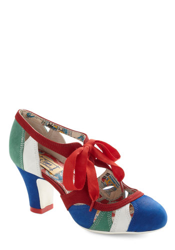 Parade My Day Heels by Miss L Fire - Cutout, Colorblocking, Mid, Leather, Multi, Red, Green, Blue, White, Party, Work, Vintage Inspired, 30s, 40s, Faux Leather, International Designer