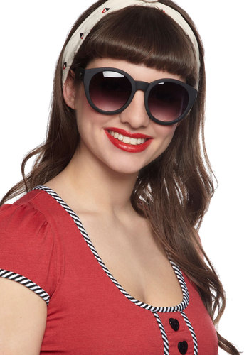 Here Comes the Fun Sunglasses in Black by Quay - Black, Statement, Urban, International Designer, Variation, Vintage Inspired, 60s, Mod, Summer