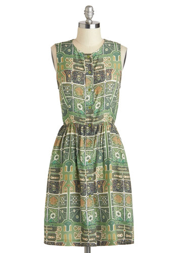 Rachel Antonoff Aerial Perspective Dress by Rachel Antonoff - Mid-length, Green, Multi, Print, Buttons, Casual, A-line, Sleeveless, Crew, Luxe
