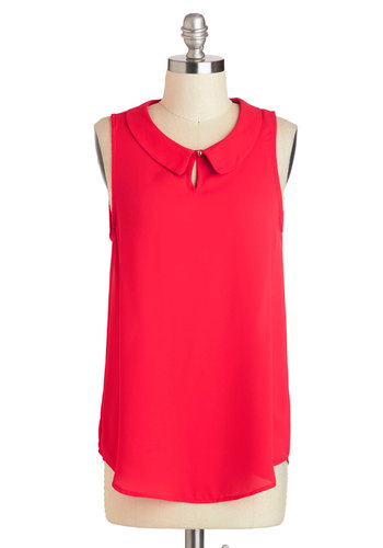 The Scarlet Go-Getter Top - Red, Solid, Peter Pan Collar, Work, Sleeveless, Collared, Mid-length, Cutout, Casual, Summer