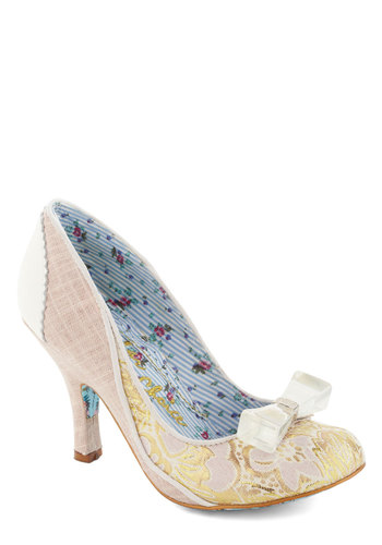 Brocade for Each Other Heel by Irregular Choice - White, Floral, Bows, High, Leather, Tan / Cream, Gold, Special Occasion, Prom, Wedding, Party, Daytime Party, Luxe