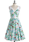 Flamingo with the Flow Dress - Blue, Multi, Print, Buttons, Pleats, Belted, Daytime Party, Fit & Flare, Sleeveless, V Neck, Print with Animals, Beach/Resort, Summer, Long, Cotton