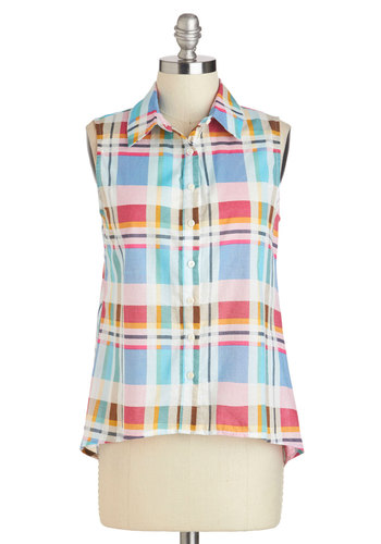 Every Which Way Top - Multi, Yellow, Blue, Pink, Plaid, Buttons, Casual, Sleeveless, Collared, Short, Cotton, Vintage Inspired, 50s, Button Down, Summer, Travel