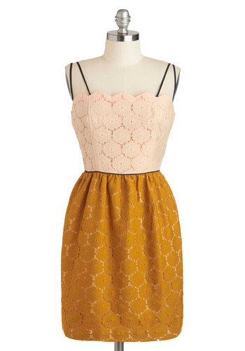 Eat, Drink, and Be Marigold Dress by Corey Lynn Calter - Mid-length, Yellow, Tan / Cream, Exposed zipper, Lace, Pockets, Party, Twofer, Spaghetti Straps, Daytime Party