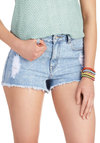 Make the Cutoff Shorts - Blue, Solid, Buttons, Pockets, Casual, Denim, Cotton, Vintage Inspired, 90s, Summer, High Waist
