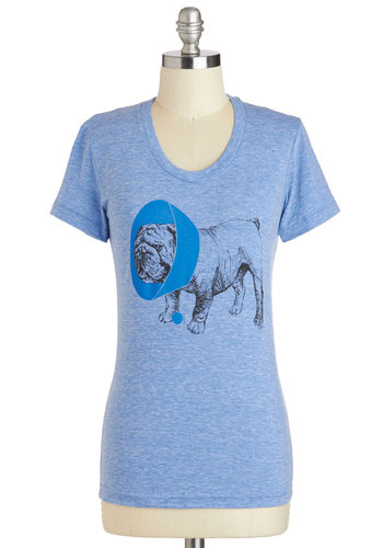 Sit, Stay, Heal Tee - Mid-length, Blue, Casual, Short Sleeves, Print with Animals, Jersey, Scoop, Travel, Blue, Short Sleeve