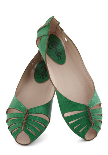 Branch Haute Flat - Green, Solid, Cutout, Flat, Casual, Vintage Inspired, 40s, 50s, 60s, Spring, Summer, Faux Leather