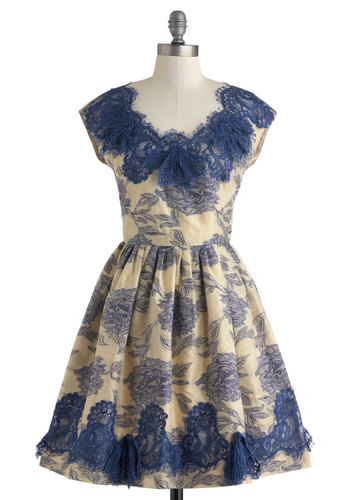 Anna Sui Fit for Fanfare Dress - Floral, Lace, Trim, Sleeveless, Spring, V Neck, Tan, Blue, Fit & Flare, Wedding, Party, Cocktail, Luxe, Fairytale, French / Victorian, Mid-length