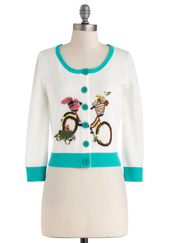 Velo, My Darling Cardigan by Knitted Dove - White, Yellow, Green, Blue, Pink, Print with Animals, Buttons, Work, 3/4 Sleeve, Spring, Short